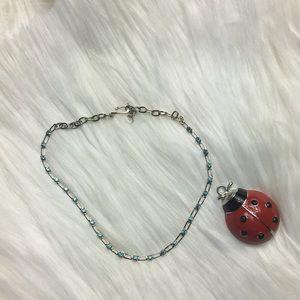 "14"", blue crystal stones, silver tone, necklace."